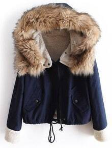 Faux Fur Hooded Navy Coat