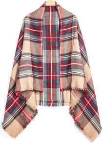 Check Print Fringe Red Scarf