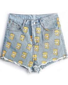 Simpson Print Denim Shorts
