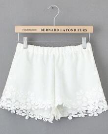 Floral Crochet Lace White Shorts