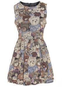 Sleeveless Bear Print Dress