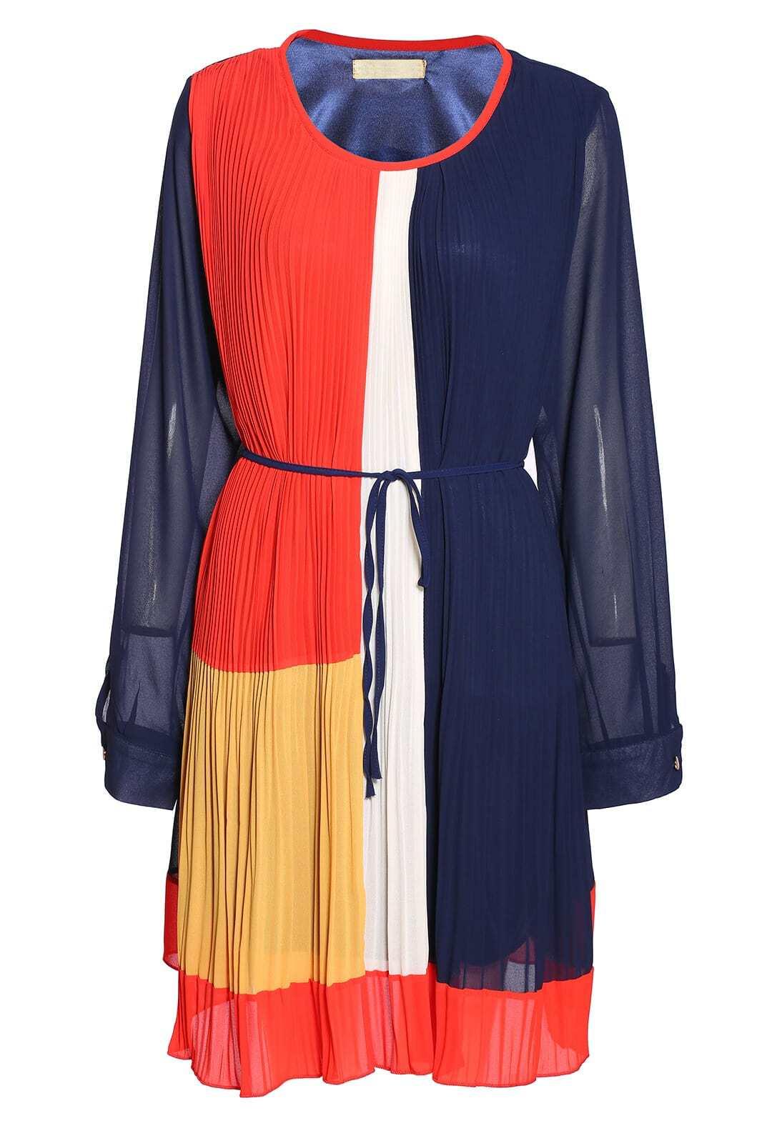 Colour-Block Broomstick Drawstring Dress
