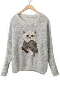 Owl Pattern Batwing Knit Grey Sweater