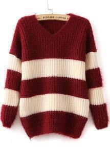 V Neck Striped Loose Wine Red Sweater
