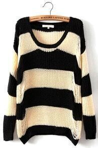 Black and White Striped Holed Out Sweater
