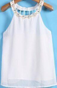 Bead Hollow Chiffon White Vest