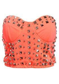 Rivet Embellished Strapless Crop Orange Vest