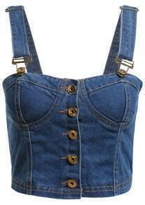 Strap Buttons Denim Blue Vest