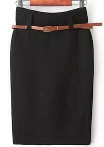 Bodycon Knit Belt Black Skirt