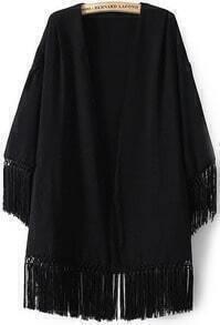 Black Long Sleeve Loose Tassel Kimono