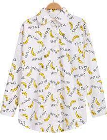 Banana Print Lapel Loose Blouse
