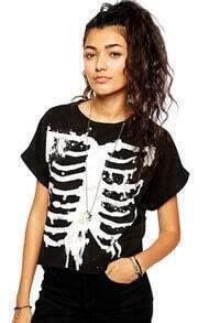 Skeleton Print Batwing Loose T-Shirt