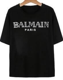 Black Short Sleeve Letter Print T-Shirt