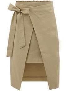 Bow Slim Split Khaki Skirt