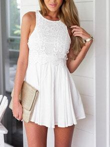 Sleeveless Lace Insert Pleated Dress