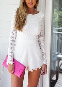 Long Sleeve With Zipper Lace Open Back Jumpsuit