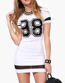 Number Print Mesh Hem White Dress