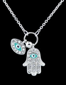 collar diamante ojo-plata