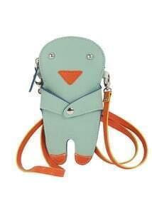 Grey Cartoon Zipper PU Clutches