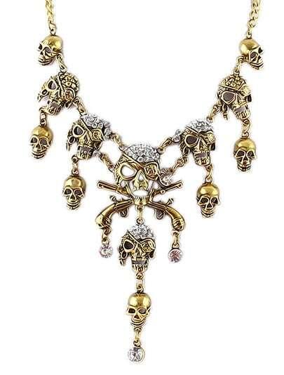 Gold Diamond Skull Chain Necklace 6.99