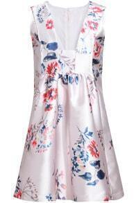 White V Neck Sleeveless Floral Slim Dress