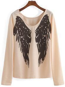 Deep Plunge Neck Wing Print Loose T-shirt