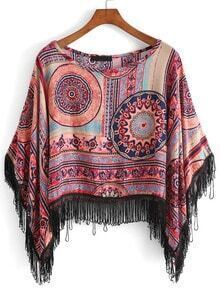 With Tassel Tribal Print Top