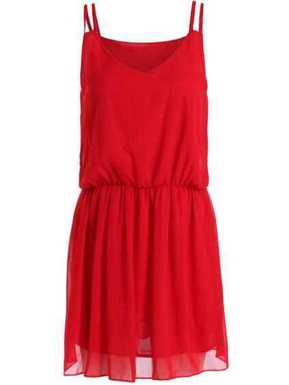 Red Spaghetti Strap Chiffon Dress $9.56