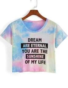 Letter Print Tie-dye Crop T-shirt