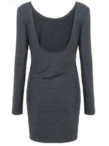 Dark Grey Long Sleeve Ruched Wrap Bodycon Dress