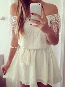 White Boat Neck Lace Tie-Waist Dress