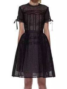 Short Sleeve Back Zipper Hollow Black Dress