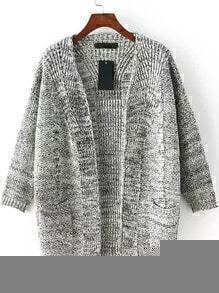 With Pockets Cable Knit Grey Cardigan