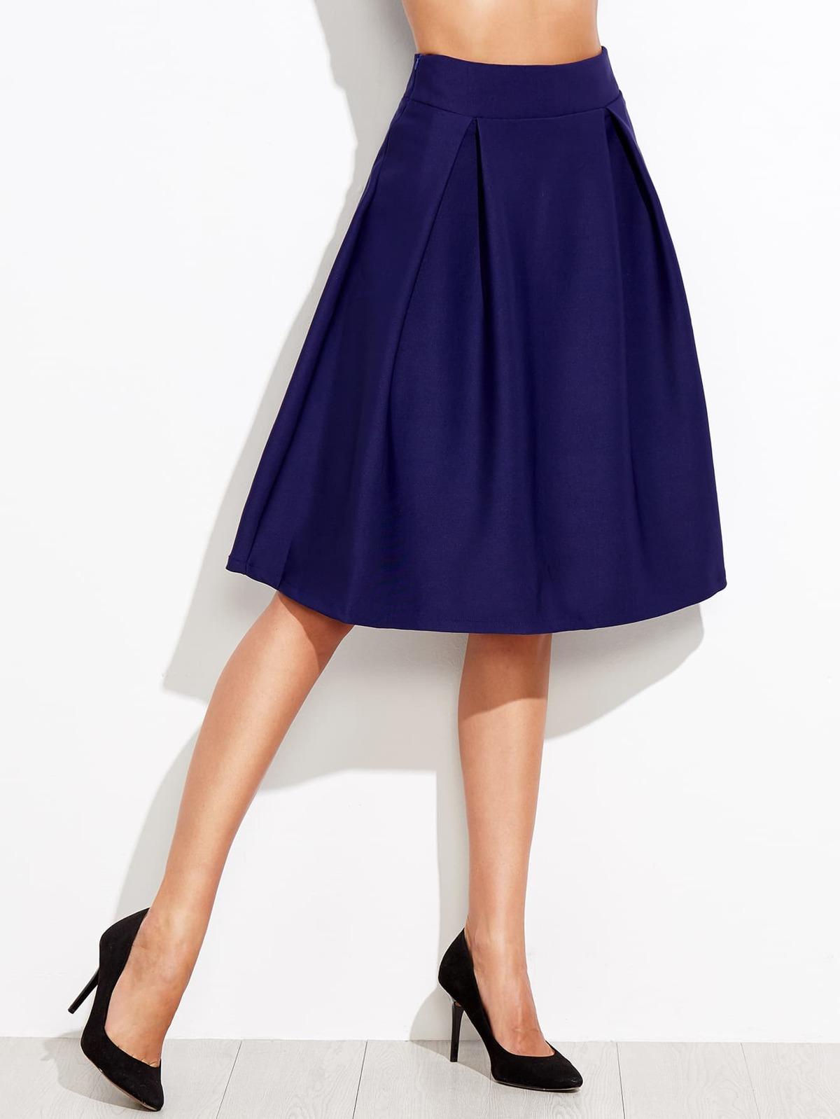 拉鏈 大喇叭 藍色 裙子