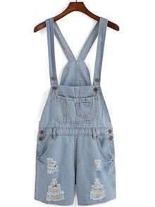 Sky Blue Overalls Pocket Jumpsuit