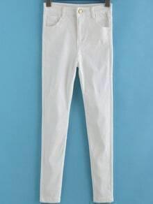 White Skinny Ripped Denim Pant