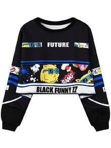 Cat Print Black Sweatshirt