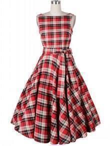 Backless Plaid Tie-waist Dress