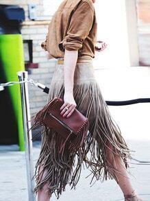 Brown Tassel Straight Skirt