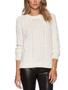 Round Neck Cable Knit Hollow Sweater