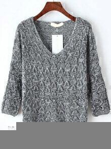 V Neck Hollow Grey Sweater