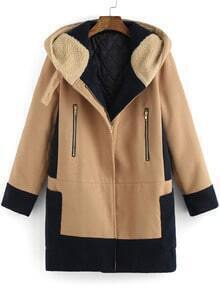 Color-block Hooded Pockets Zipper Coat