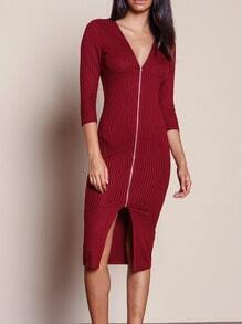 Burgundy V Neck Slim Dress