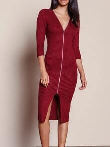 Burgundy V Neck Slim Dress