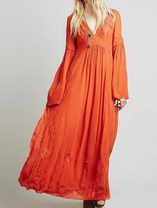 Deep V Neck Embroidered Maxi Red Dress