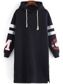 Hooded Drawstring Varsity-Striped Slit Navy Dress
