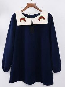 Doll Collar Cartoon Embroidered Blue Dress
