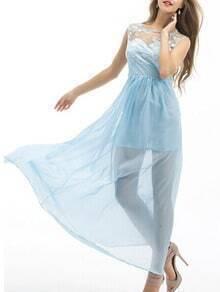 vestido maxi encaje forro gasa plisada-azul