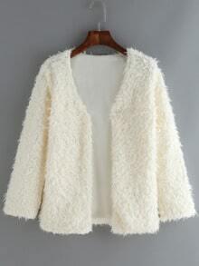 V Neck Faux Fur Coat