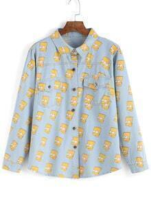 Simpson Print Cartoon Denim Blouse